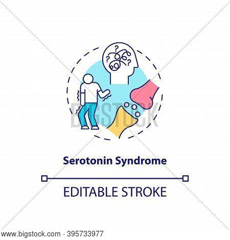 Serotonin Syndrome Concept Icon. Antidepressants Side Effect Idea Thin Line Illustration. Shivering,