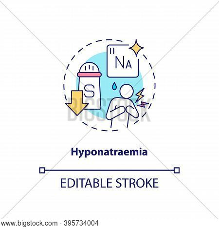 Hyponatraemia Concept Icon. Antidepressants Side Effect Idea Thin Line Illustration. Low Sodium Conc