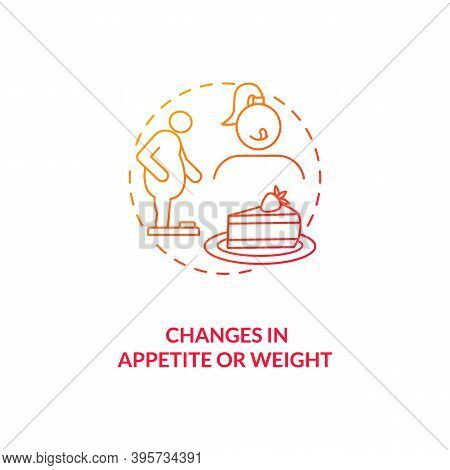 Changes In Appetite And Weight Concept Icon. Sad Symptom Idea Thin Line Illustration. Eating Behavio