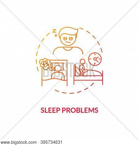 Sleep Problems Concept Icon. Antidepressants Side Effect Idea Thin Line Illustration. Insomnia, Nigh