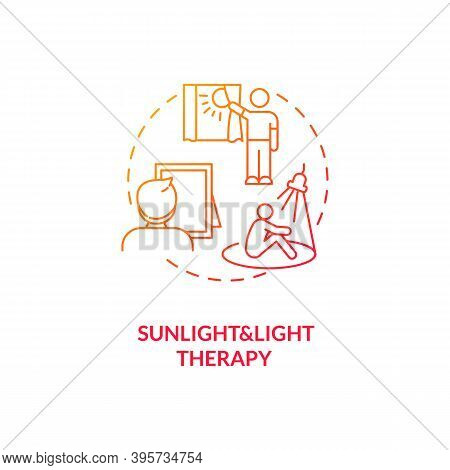 Sunlight And Light Therapy Concept Icon. Sad Treatment Idea Thin Line Illustration. Eye Exposure To