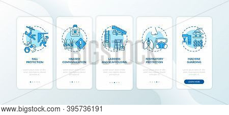 Top Workplace Safety Violations Onboarding Mobile App Page Screen With Concepts. Hazard Communicatio