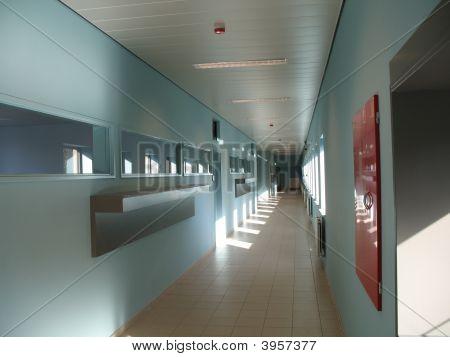 Blue Corridor At School