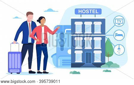 Hostel Exterior For Tourists. Inexpensive And Cheap Place To Stay Or Overnight. Alternative Home For