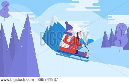 Kids Sledding. Snow Landscape, Mountain, Winter Activities. Childhood Holiday.boy And Girl Sliding T