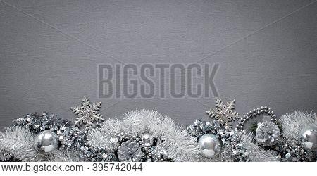 Dark, Stylish, Christmas Background, Silver Snowflakes, Stars, Tinsel On A Dark Background, Mock Up