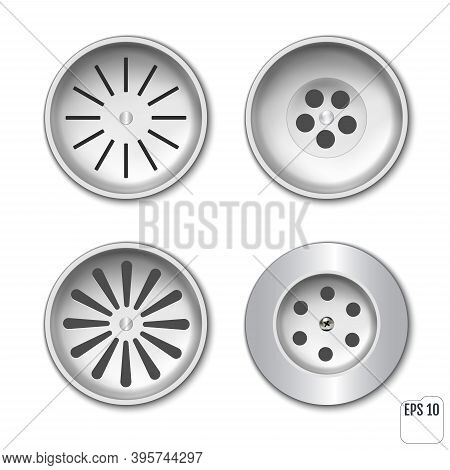 Plastic Drainage Grid For Shower Or Sink. Set For Design. Vector Realistic Set Drain Manhole With Gr