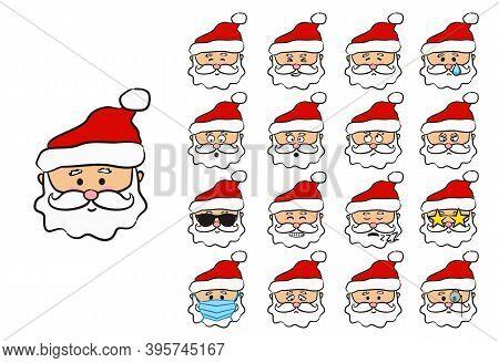 Santa Claus Emoji. Funny Hand Drawn Character. Christmas Vector Illustration. Santa Wearing A Protec