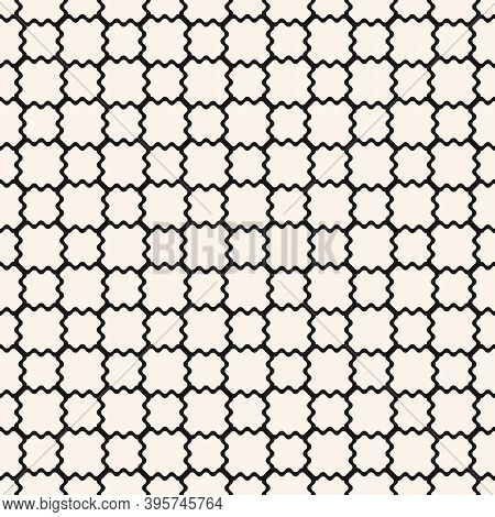 Mesh Seamless Pattern With Thin Wavy Lines. Vector Texture Of Lace, Weaving, Smooth Lattice, Grid, N