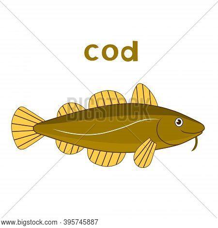 Cod Fish. Vector Cartoon Color Brown Image.