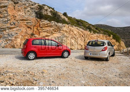 Ios, Greece - September 20, 2020: Opel Corsa And Seat Mii On The Road In The Mountainous Part Of Ios