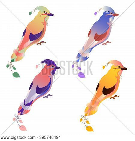 A Set Of Ravenous Birds. Isolated White Background. Gradient Colors Of Plumage. The Stylized Image O