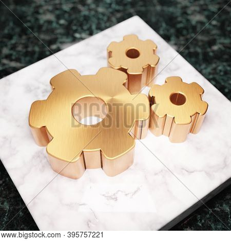 Cog Wheels Icon. Bronze Cog Wheels Symbol On White Marble Podium. Icon For Website, Social Media, Pr