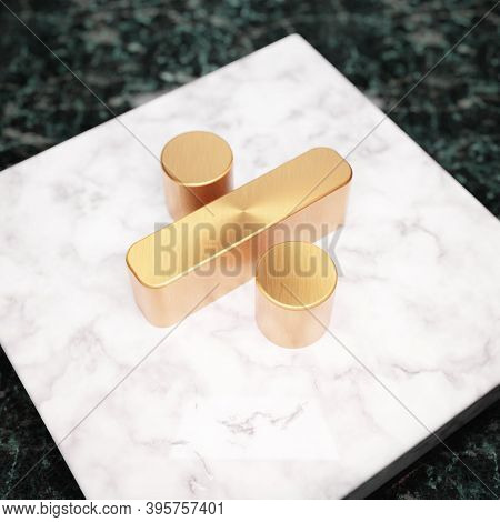 Divide Icon. Bronze Divide Symbol On White Marble Podium. Icon For Website, Social Media, Presentati