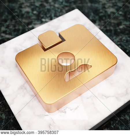 Id Card Icon. Bronze Id Card Symbol On White Marble Podium. Icon For Website, Social Media, Presenta