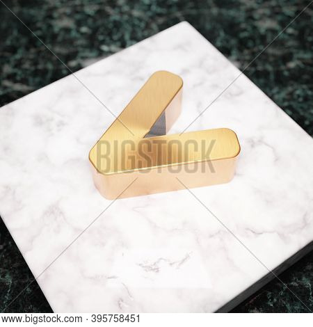 Less Than Icon. Bronze Less Than Symbol On White Marble Podium. Icon For Website, Social Media, Pres