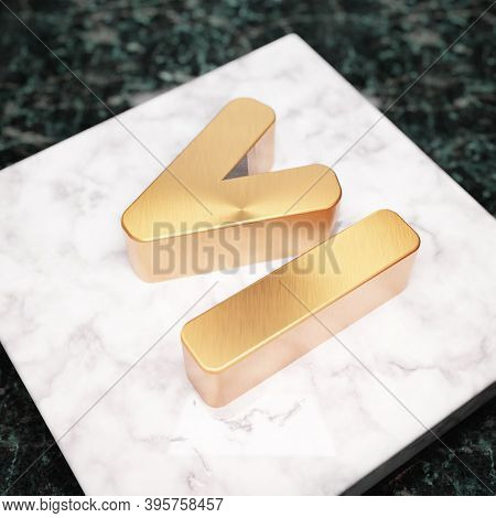 Less Than Or Equal Icon. Bronze Less Than Or Equal Symbol On White Marble Podium. Icon For Website,