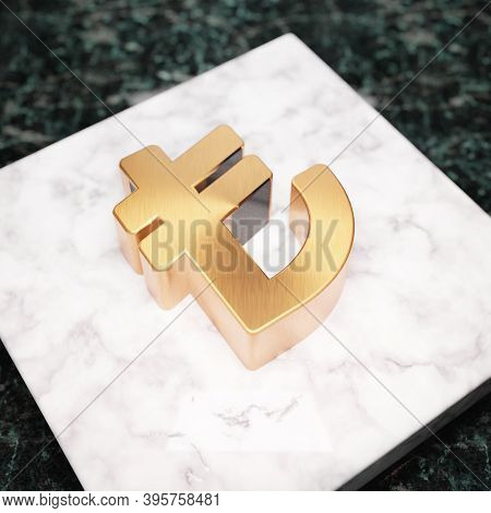 Lira Icon. Bronze Lira Symbol On White Marble Podium. Icon For Website, Social Media, Presentation,