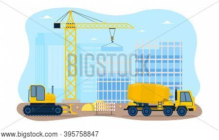 Building A Houses Premises Process. Workers Constructing With The Help Of Special Equipment And Tran