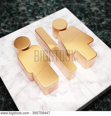 Restroom Icon. Bronze Restroom Symbol On White Marble Podium. Icon For Website, Social Media, Presen
