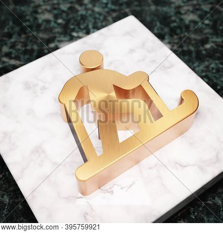 Skiing Nordic Icon. Bronze Skiing Nordic Symbol On White Marble Podium. Icon For Website, Social Med