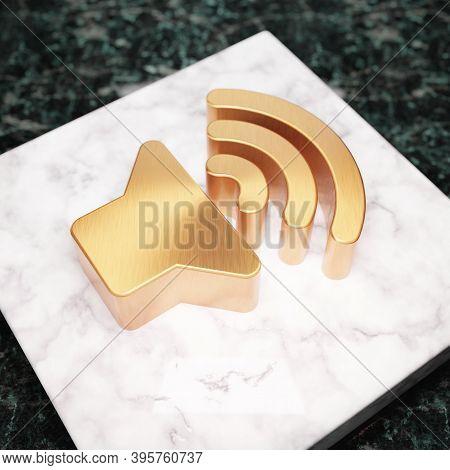 Volume Up Icon. Bronze Volume Up Symbol On White Marble Podium. Icon For Website, Social Media, Pres