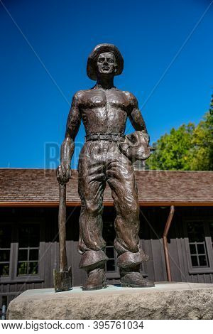 Cuyahoga Valley National Park, United States: October 7, 2020: Civilian Conservation Corps Statue St
