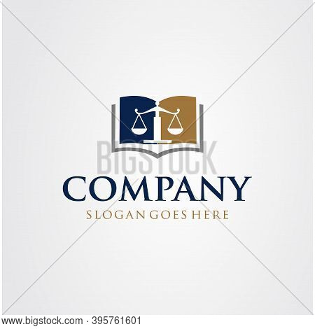 Law Education Logo Design Template. Scales Justice Book Logo Design Symbol Law Justice. Master Lawye