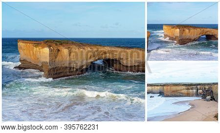 Collage Of The Well-known London Bridge Tourist Destination On The Great Ocean Road In Victoria Aust