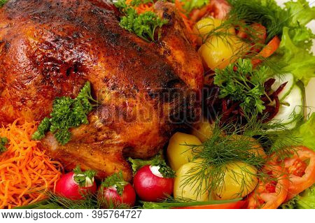 Appetizing grilled chicken with colorful vegetables food still life