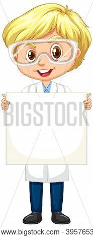 Boy In Science Gown Holding Paper On White Background