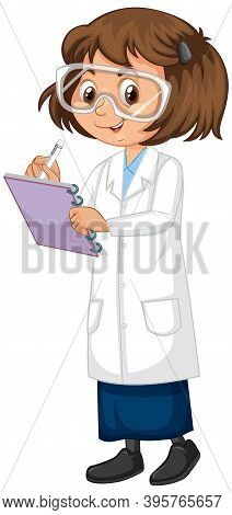 Girl In Science Gown On Isolated Background