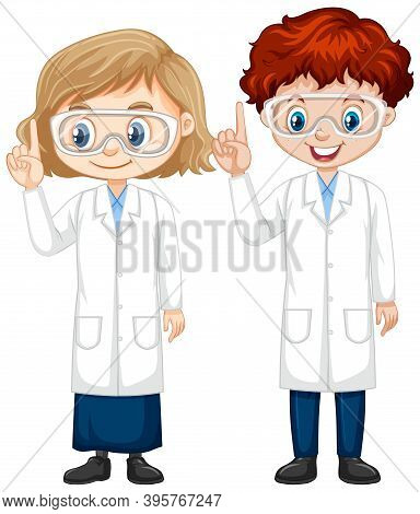 Boy And Girl In Science Gown On Isolated Background