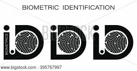Id Fingerprint Icon For Identification Apps. Biometric Identification Of Human Data. Unique Pattern