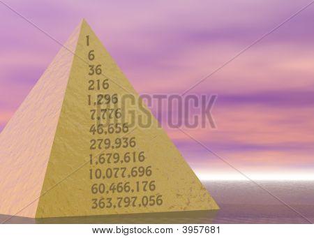 Golden Pyramid On Pink Purple