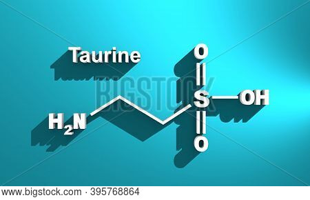 Skeletal Formula Of Taurine. Amino Acid Molecule 3d Rendering. Infographic Illustration