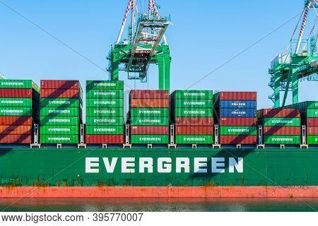 San Pedro, California - October 11 2019: Evergreen Cargo Ship, Loaded Shipping Container Vessel, Doc