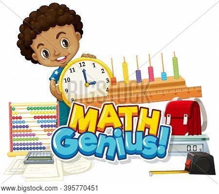 Font Design For Word Math Genius With Happy Boy