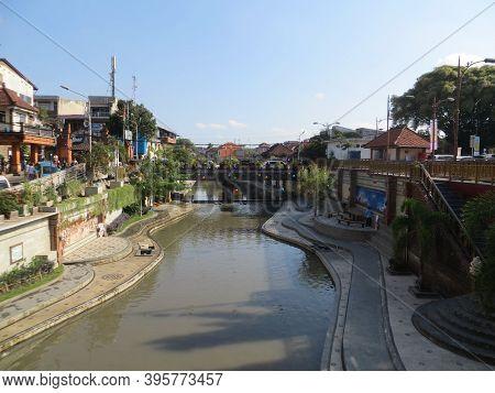 Denpasar, Indonesia - October 5, 2019: Background Of Tukad Badung (badung River) Besides The Traditi