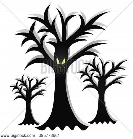 Ominous Trees. The Mouth Is Sewn Up. Silhouettes Of Plants. Angry Facial Expression. Curved Branches