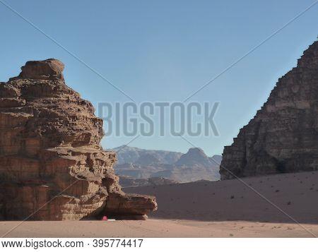 Wadi Ram Desert, Desert, Jordan Beautiful Landscape: Desert Mountains And Blue Sky. A Close Up Of A