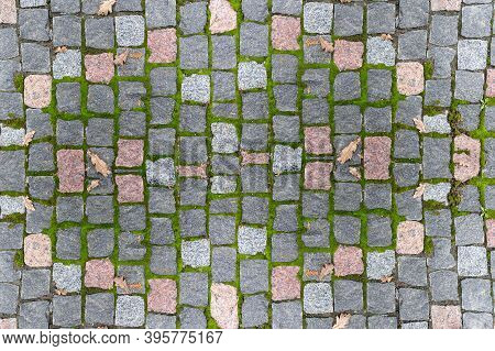 Gray Paving Stones On The Pavement Overgrown With Moss With Top View. Old Gray Pavement Background
