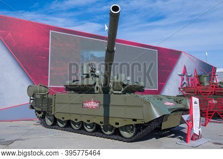 Moscow Region, Russia - August 27, 2020: Upgraded Main Tank T-80bvm On The International Military Fo
