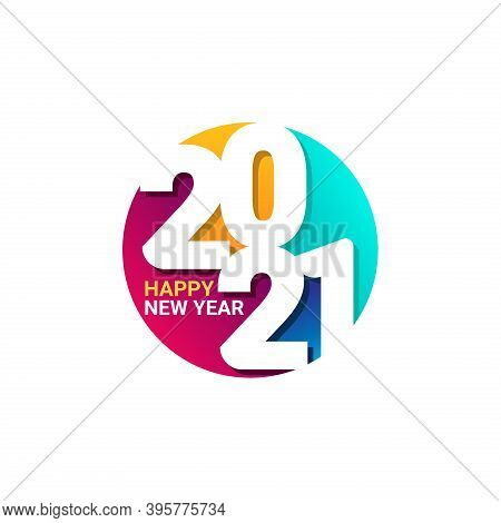 New Year 2021. Happy New Year 2021 Vector. Number 2021 In The Modern Circle Concept. 2021 Text. Numb