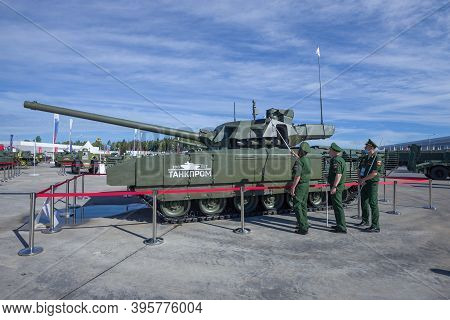 Moscow Region, Russia - August 27, 2020: Russian Officers Inspect The Newest Tank T-14