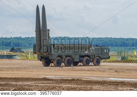 Alabino, Russia - August 25, 2020: Iskander -russian Tactical Missile System In Combat Position.frag