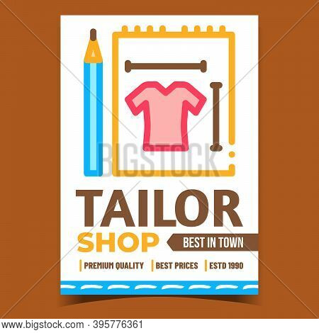 Tailor Shop Creative Advertising Banner Vector. Tailor Items Pencil And Clothes Measuring, Craft And