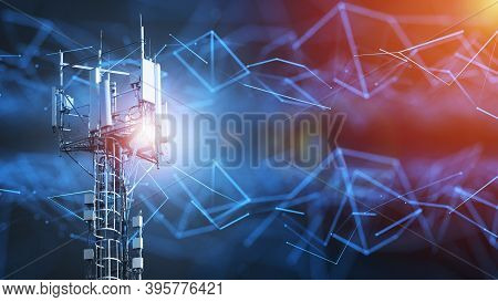 4g And 5g Cellular Telecommunication Tower. Telecommunication Equipment For A 5g Radio Network With