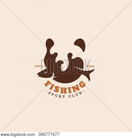 Grizzly Bear With A Fish Logo Design Template For A Light Background. Vector Illustration.