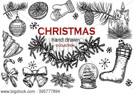 Christmas Icons Hand Drawn Sketch Set. Isolated Retro Holidays Object, Symbol, Element. Christmas Tr